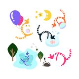 Cats playing set using for kids fun and cute wallpaper vector il stock illustration