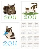 Cats for  pocket calendar 2011. Set of  cats for  pocket calendar 2011 Royalty Free Stock Image