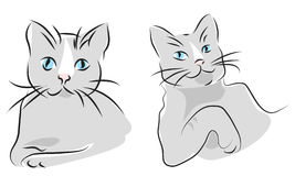 Cats portraits. Two cats portraits, simple lines illustrations Royalty Free Stock Images