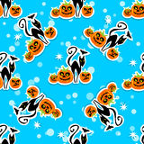 Cats and pumpkin seamless pattern Royalty Free Stock Images