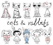 Cats and rabbits Royalty Free Stock Images