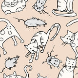 Cats and rats pattern Royalty Free Stock Photography