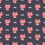 Cats and ribbons pattern Stock Images
