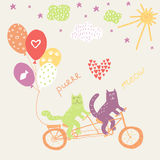 Cats riding a tandem bicycle with balloons. Invitation design Stock Photo