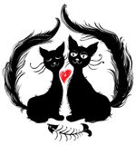 Cats. Romantic dinner. Pair cats ate tasty fish. Funny illustration of Valentines Day Royalty Free Stock Photography