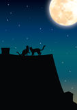Cats Romantic under the moonlight , Vector illustrations. Moon Stock Photo