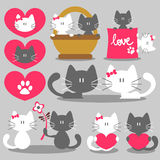 Cats romantic valentine set Stock Images