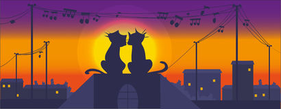 Cats on the roof. Cartoon cats on the roof at night singing songs stock illustration