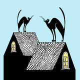 Cats on the roofs, vector illustration Royalty Free Stock Photo