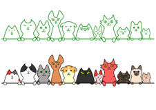 Cats in a row with copy space Stock Images