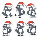 Cats in santa claus costume character design stock illustration