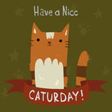 Cats Saturday Postcard. The cute vector postcard with funny cartoon cats for everyone who celebrate weekend and holidays. For ui, web games, tablets, wallpapers Royalty Free Stock Photography