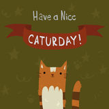 Cats Saturday Postcard. The cute vector postcard with funny cartoon cats for everyone who celebrate weekend and holidays. For ui, web games, tablets, wallpapers Stock Photos