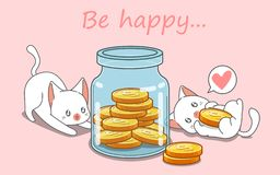 2 cats are saving money vector illustration