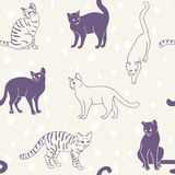 Cats seamless pattern Royalty Free Stock Images
