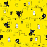 Cats seamless pattern stock illustration