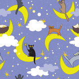 Cats seamless pattern. Cats sitting on moons in different poses. Fairy background. Cats seamless pattern. Cats sitting on moons in different poses. Fairy night Stock Photos