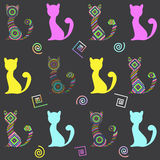 Cats seamless pattern. Cats from concentric circles and squares. Seamless vector pattern Stock Images