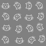 Cats seamless pattern. Cute calm cats cartoon. Cats seamless pattern. Cartoon doodle style calm sleeping cat head faces gray and white background Stock Images