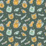 Cats seamless pattern. Cute cats colorful seamless pattern. Cartoon vector seamless wallpaper. Hipster pet Royalty Free Stock Images