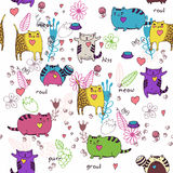 Cats seamless pattern in doodle style. Stock Images