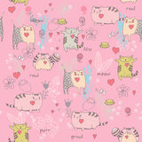 Cats seamless pattern in doodle style. Stock Photography