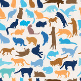 Cats seamless pattern. Kitten silhouette background Stock Photography