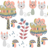 Cats seamless pattern. It is located in swatch menu, . Cut. E picture with animals. Abstract adorable vector background Royalty Free Stock Photography