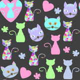 Cats seamless pattern and seamless pattern in swatch menu, vecto Stock Photography