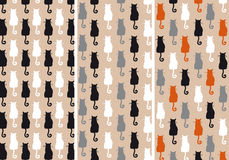 Cats seamless pattern, vector set Stock Photo