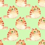 Cats, seamless pattern. Watercolor cartoon cats, seamless pattern Stock Images