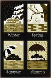 Cats seasons in sepia. A funny Sepia effects illustration with cats and the four seasons. For web or print usage. Available EPS format Royalty Free Stock Photo