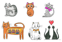 Cats set. Cute cats set. Hand drawn illustration Stock Photography