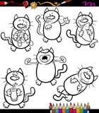 Cats set cartoon coloring book Royalty Free Stock Photos