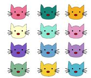 Cats, set of cute doodle. Sketch character handmade to Print T-shirts vector illustration