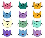 Cats, set of cute doodle. Sketch character handmade to Print T-shirts stock illustration