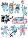 Cats. Set of funny blue cats Stock Photos