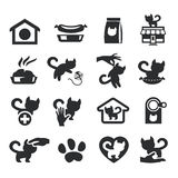 Cats set on gray. Authors illustration in vector Stock Image