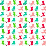 Cats set hand drawn silhouette seamless pattern four differents forms colorful pastel vector illustration