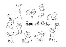 The cats set. Illustration of a silhouette of a beautiful cat in white stock illustration