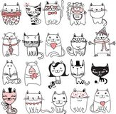 Cats set. Set of 20 Vector doodle cute cats avatars stock illustration