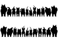 Cats silhouette border set. Various Cats silhouette border set, from front view and rear view vector illustration
