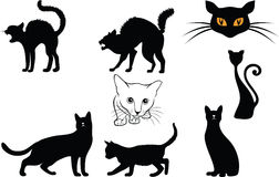 Cats silhouettes. Illustration of cat silhouettes for example for halloween Royalty Free Stock Images