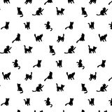 Cats silhouettes pattern Stock Photography