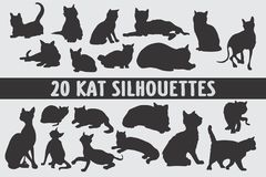 20 Cats Silhouettes various design set royalty free stock images