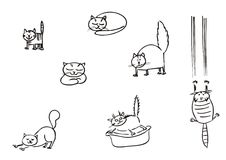 Cats simple clipart. Hand drawning funny cats vector Royalty Free Stock Photography