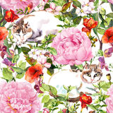 Cats sleeping in meadow grass, flowers. Floral seamless pattern. Watercolor Stock Photos