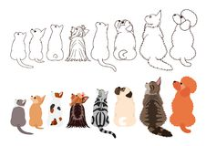 Cats and small dogs looking up sideways in a row. Set of with colors and monochrome line art stock illustration