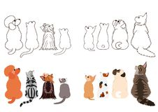 Cats and small dogs looking up sideways in two rows. Set of with colors and monochrome line art stock illustration