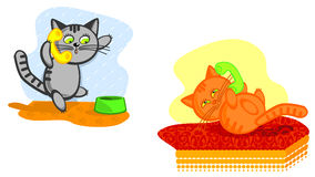 Cats speak on telephone. Two nice cats speak on telephone. Vector cartoon scene. Sulfuric and redhead a cat Stock Photo